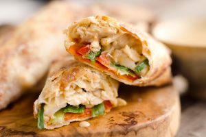 Airfryer Thai Peanut Chicken Egg Rolls