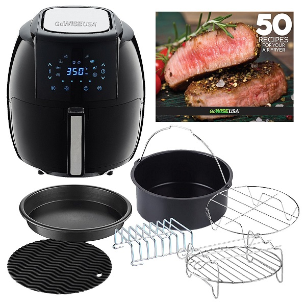 GoWISE USA 5.8-Quarts 8-in-1 Air Fryer XL with 6 Piece Accessory Set and Air Fryer Recipe Book
